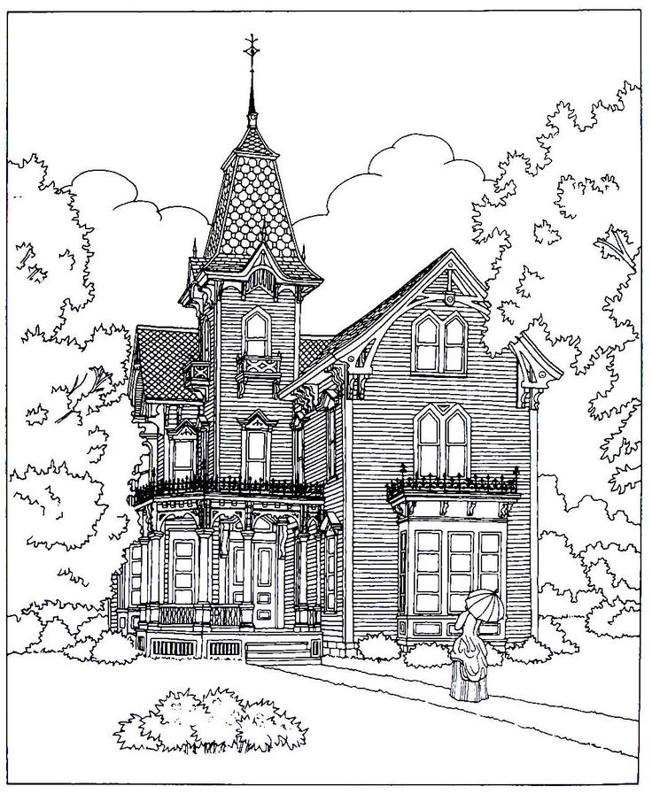 victorian mansion coloring pages - photo#21