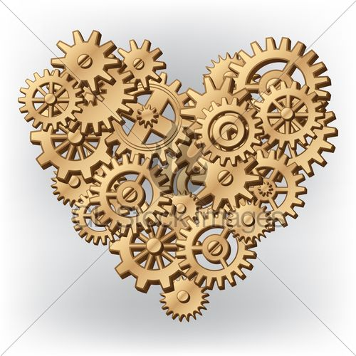 Mechanical Heart Symbol Made Of Cogs And Gears