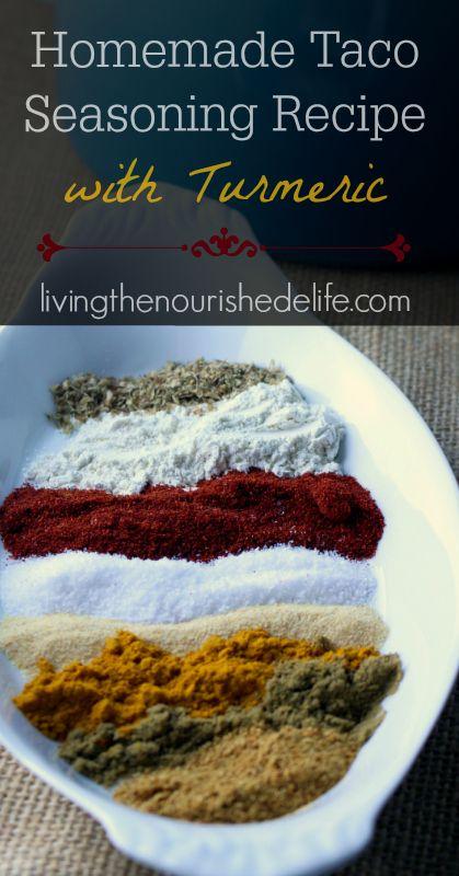Homemade taco seasoning recipe with turmeric - at livingthenourishedlife.com