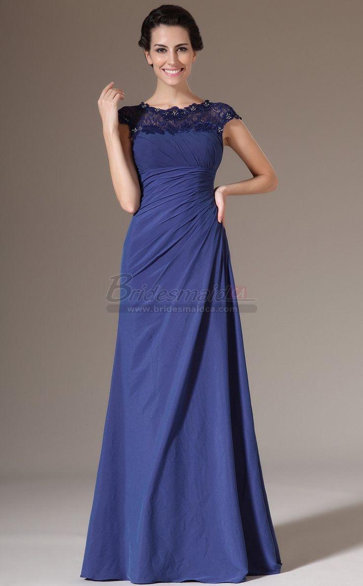 Blue Empire Waist Long Bateau Neckline Mermaid Bridesmaid Dress in Blue with Short Sleeve JT-CA1395 - BridesmaidCA.com