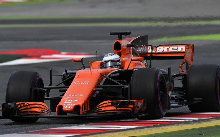 Indir duvar kağıdı 1 Fernando Alonso, 4k, McLaren Formula, 2017 araba, Formula 1, F1