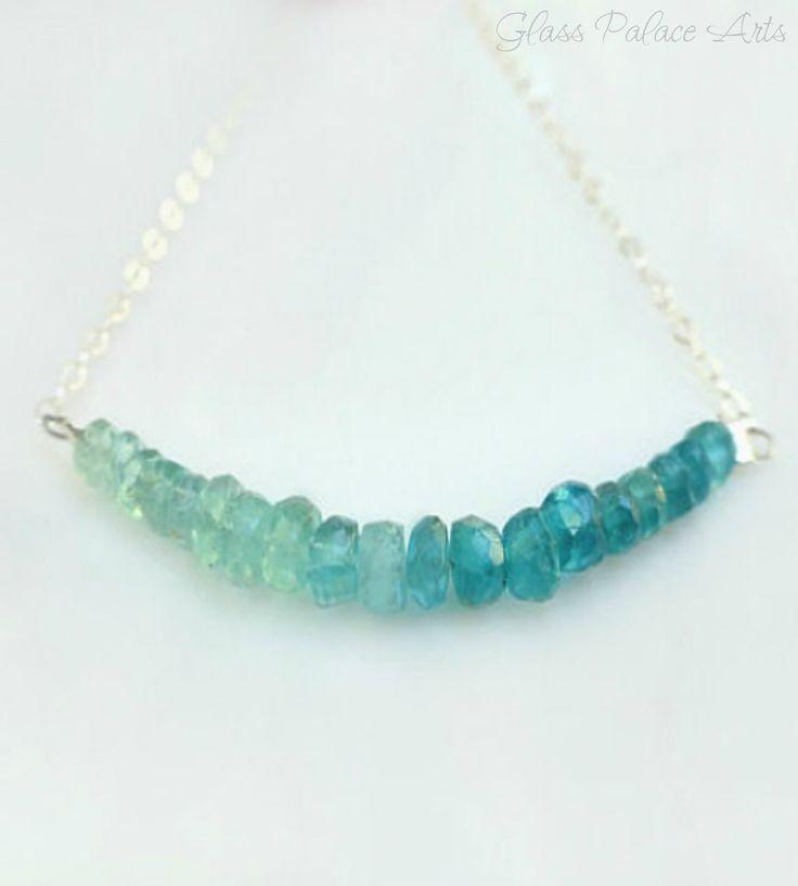 Blue Green Apatite Necklace - Petite Beaded Strand Necklace - Gemstone Jewelry