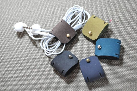 Leather Earphone holder - earbud holder - cable holder - cable organizer - earphone organizer - earplug holder - earplug organizer