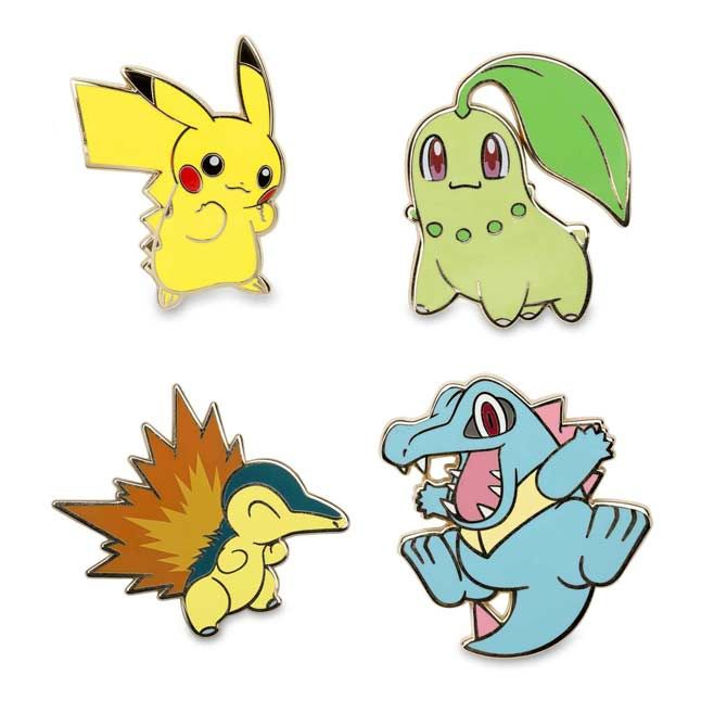 Official Chikorita, Cyndaquil, and Totodile Pokémon Pins. These Johto favorites make a great start to any Pokémon Pin collection.
