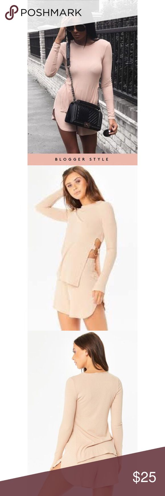 Misspap beige two piece set Ring Side Ribbed Two Piece Set. Also in black! misspap Other