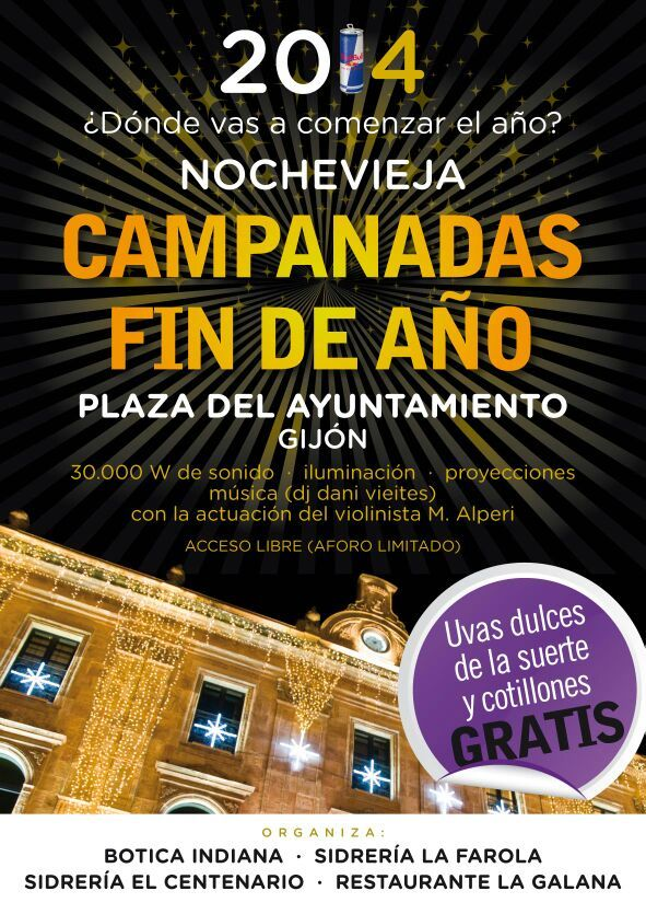 Cartel de la fiesta de Nochevieja 2013 en la Plaza Mayor de Gijón.