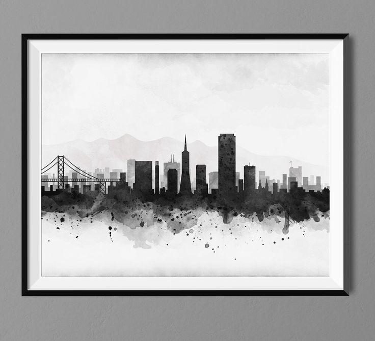 San Francisco Skyline - Watercolor Art Print Poster - Housewarming, Home Decor, Wall Hanging, San Francisco Art by Macanaz on Etsy https://www.etsy.com/au/listing/220892763/san-francisco-skyline-watercolor-art
