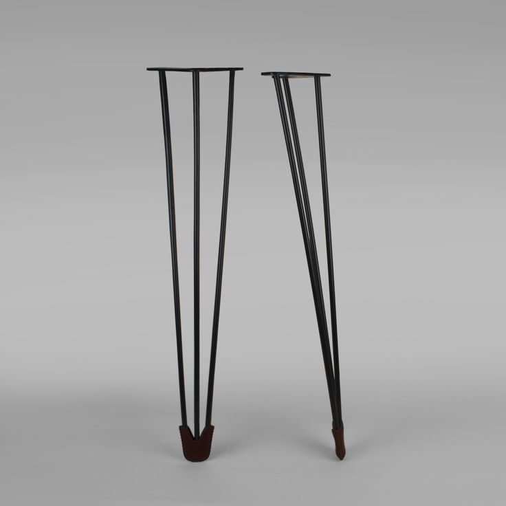 Harald Table Leg, Black With Brown Leather Sock. You Find All Our Table Legs