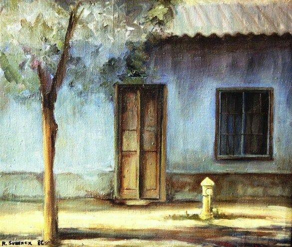 """""""atardeciendo"""" casa vieja en barrio poniente de Santiago de Chile...... òleo sobre tela"""