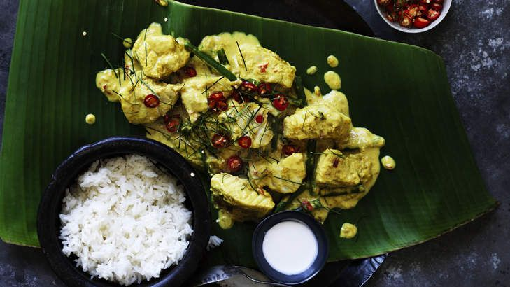 Green fish curry: Adam Liaw's Amok-style ling, green bean and spinach curry.