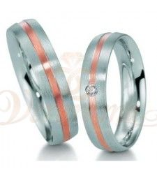 Βέρες γάμου από πλατίνα και ρόζ χρυσό με διαμάντι Breuning 9019-9020
