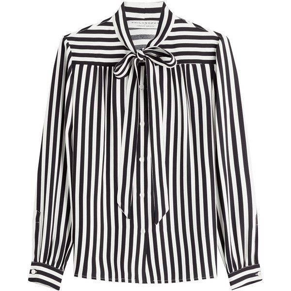 Philosophy di Lorenzo Serafini Striped Blouse found on Polyvore featuring tops, blouses, shirts, striped, white stripes shirt, striped top, white striped shirt, stripe blouse and striped blouse