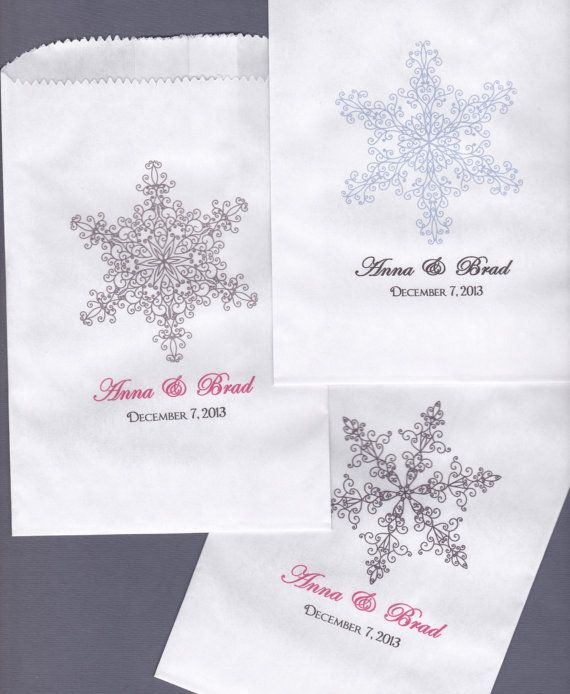 Snowflake Wedding Candy Buffet Bag Favor Bags By Wreathartist 15 00
