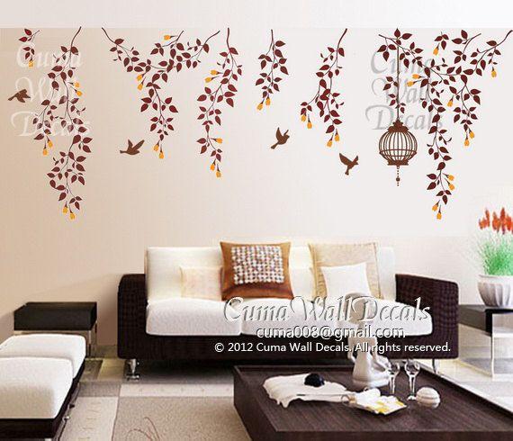 Árbol wall decals naturaleza Ave pared calcomanía vinilo vivero Birdcage pared adhesivo arte mural de la pared del flor - jaula vid flores y...