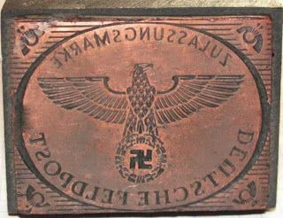 ZULASSUNGSMARKE DEUTSCHE FELPOST APPROVAL MARK GERMAN FIELDPOST NAZI GERMAN EAGLE STAMP INK SEAL INK STAMP GERMAN WW2 PRICE $39