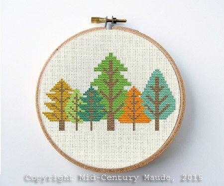 Tree Cross Stitch Pattern Retro forest Design Instant Download Needlepoint Mid Century Modern geometric style