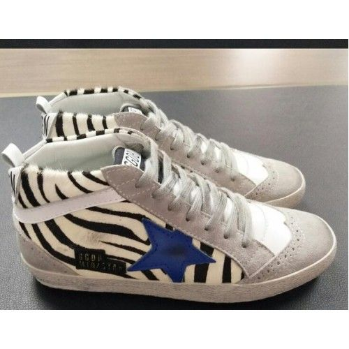 2017 GGDB Mid Star Golden Goose Sneakers Dames Zebra Wit Zwart