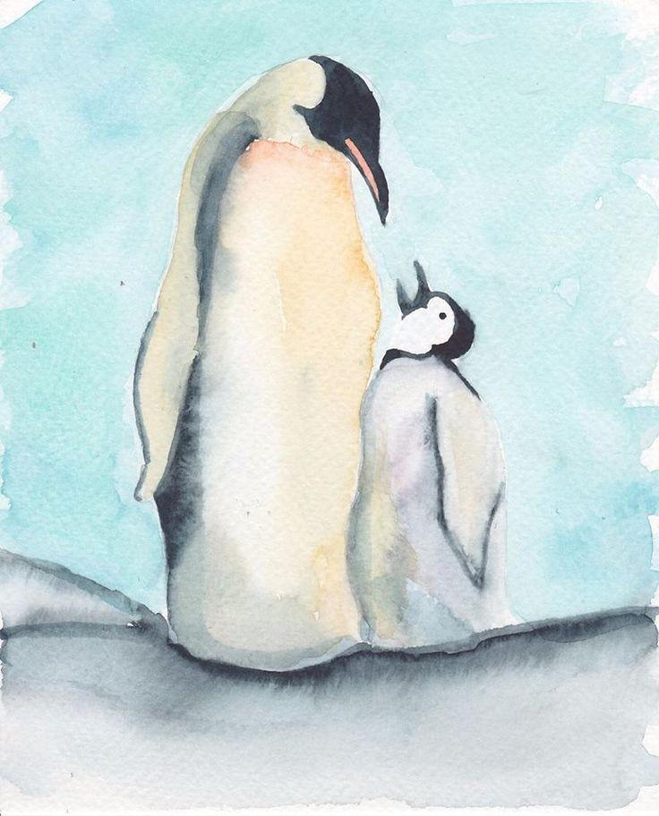 My favourite animal  This Christmas card is for my lovely mom  #christmas #christmascard #penguin #motherlove #love #watercolor #lovealways #yejipaints www.yeji-kim.com