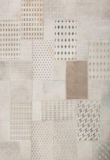 "Tapis cuir patchwork   cuir véritable   tissé main   Tapis Patchwork Gleam 560 ""Blanc"" - BRICOFLOR"