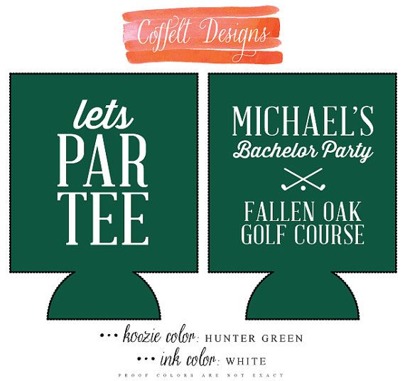 Bachelor party golf tournament. Personalized and Custom Weeding Koozie: Bachelor by CoffeltDesigns