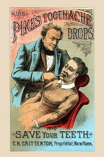 This is a Victorian trade card for an early form of toothpaste. However, the advertisement on the back lists a series of other quack potions and medications to cure all sorts of ailments.