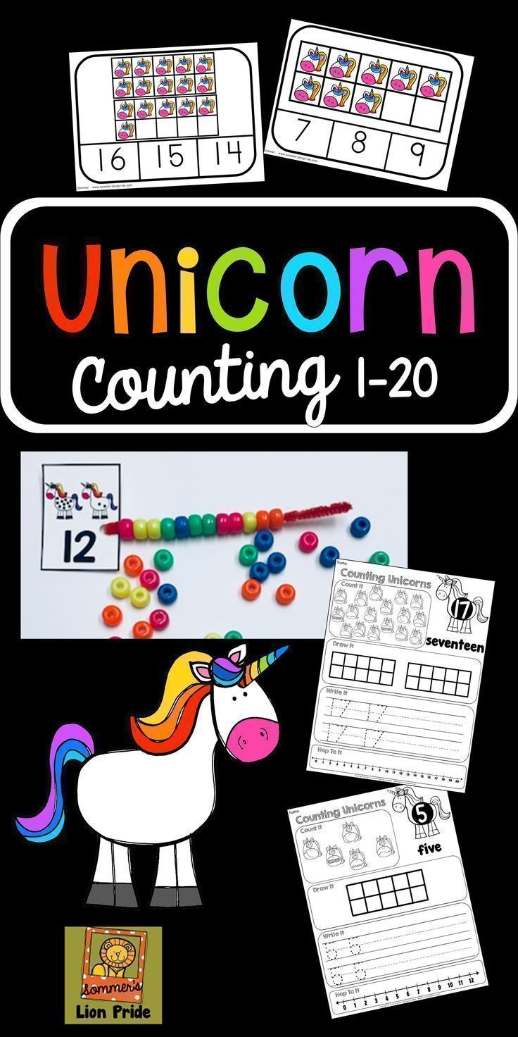 Counting 1 20 Unicorn Themed Tpt Math Lessons Pinterest Math