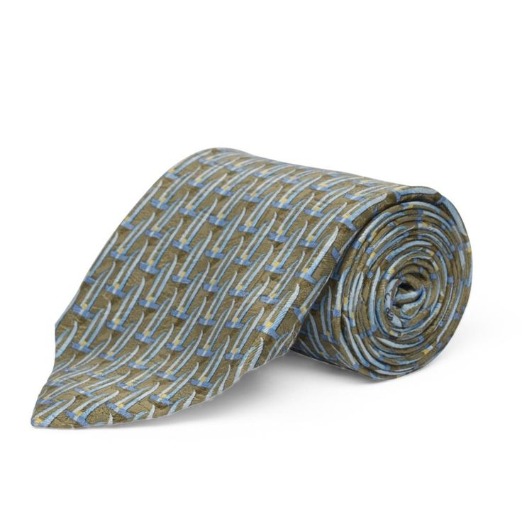 A soft printed tie with the illusion of racing yachts. This tie from Zegna would work well with a fawn or brown suit.