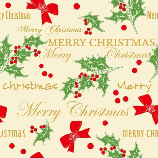 柊の葉と実とリボンを散りばめてデザインしたベクターイラストパターン。楽しいクリスマスに。
