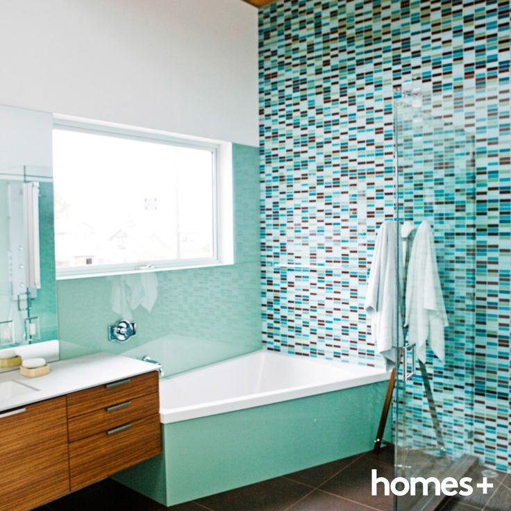 #bathroom #beach #style #home #decor #interior #bath #tub #vanity #blue #green #timber #tiles #shower #towel #homesplusmag