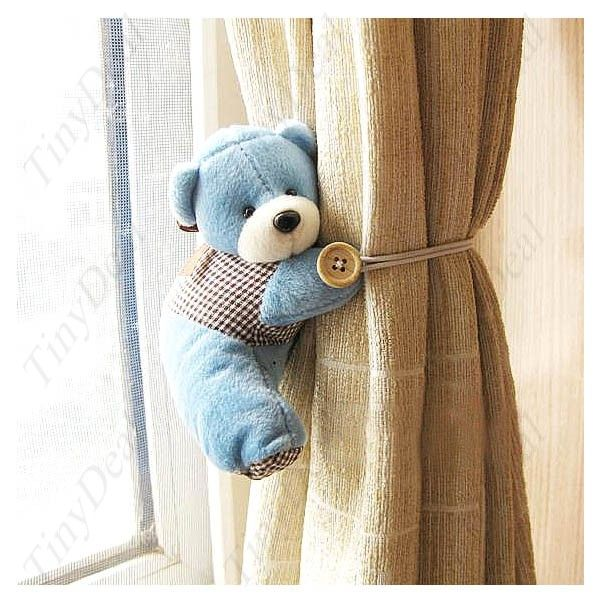 Pair of Super Lovely Plush Cartoon Bear Design Curtain Buckles Tiebacks Binds Household Decorator Assorted