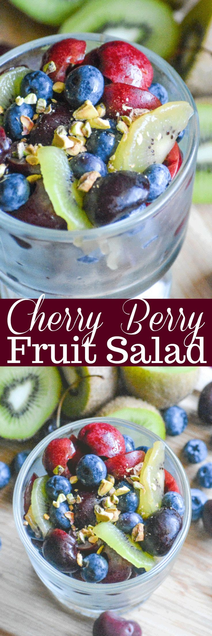 Loaded with antioxidants (because let's face it, back to school means back to germs) this healthy side dish doubles as a fresh, sweet take on dessert. Bursting with sweet cherries and blueberries, studded with chunks of kiwi and sprinkled with pistachio pieces- our fresh Cherry Berry Fruit Salad is ready in just 5 minutes! #BaronessPatches #ad
