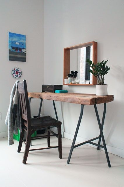 Reclaimed Wood Vanity Table This reclaimed wood vanity table was a DIY project by this Apartment Therapy House Tour homeowner. The trestle l...