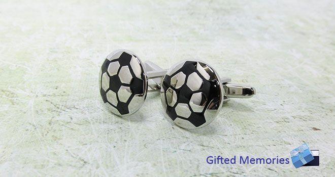 Mens Cufflinks - Soccer Balls. Find it at www.giftedmemoriesjewellery.com.au