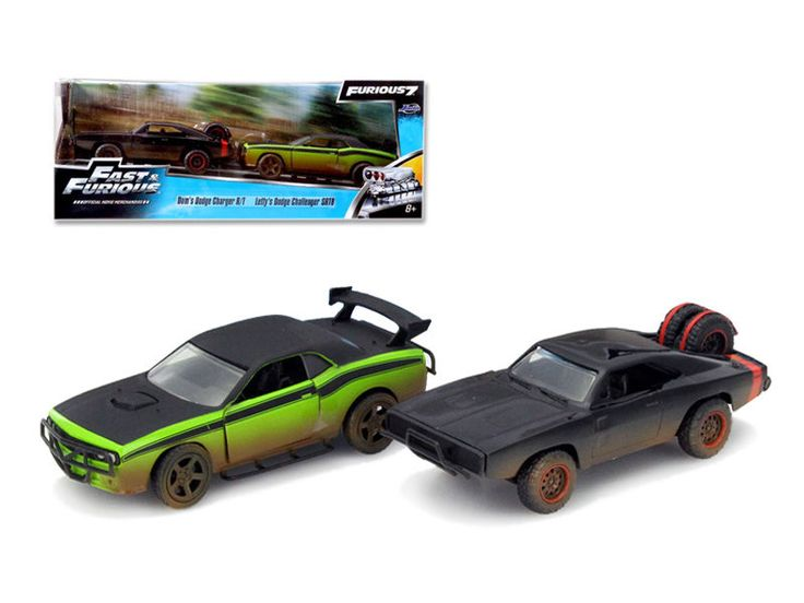 Fast & Furious 7 Movie Set of 2 1/32 Diecast Cars by Jada Charger R/T Challenger #JadaToys #Dodge