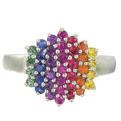 Multicolor Rainbow Sapphire Engagement Wedding Ring 925 Sterling Silver