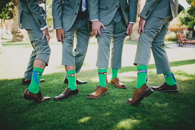 These groomsmen had a little fun with their ninja turtle socks. This wedding looks like a lot of fun.