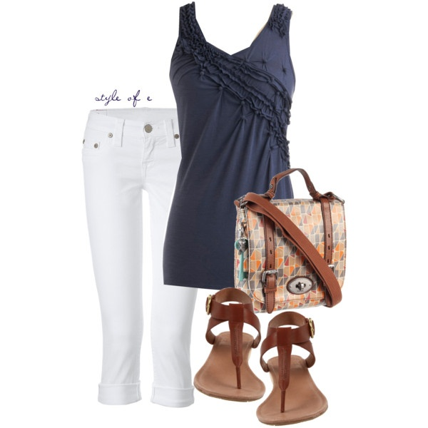 Pintucked Tank, created by styleofe on Polyvore: Fashion Outfit, White Capri, Pintuck Tanks, Summer Looks, Style, White Pants, Leather Sandals, White Jeans, Hands Bags