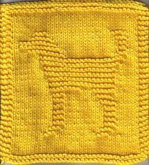 Knitted Dog Cloth, aka Dougie the Doggie, copyright Rhonda K. White on Knitting Knonsense. Free knitting pattern!!