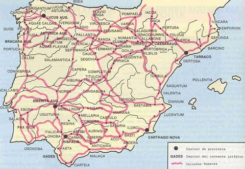 Calzadas y ciudades romanas en Hispania