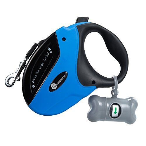 TaoTronics Retractable Dog Leash 16 ft Dog Walking Leash for Medium Large Dogs up to 110lbs Tangle Free One Button Break & Lock  Dog Waste Dispenser and Bags included