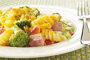 cheesy broccoli ham pasta