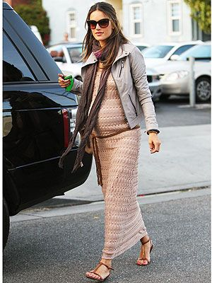Model mom-to-be Alessandra Ambrósio looks amazing in her J Brand leather jacket and Sanctuary maxi dress. Check her out, plus our look for less.
