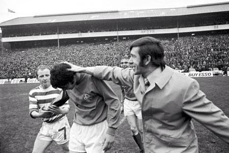 John Greig congratulating 16 year old Derek Johnstone after 1970 league cup final