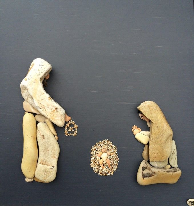 fantasia d'autore - Sassi d'autore...beautiful nativity pebble scene!