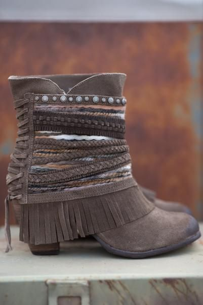 Nothing Can Stop Me Studded Boho Booties-Taupe