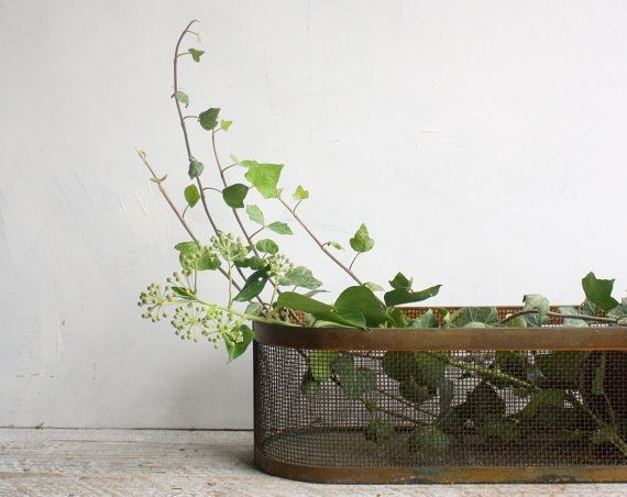 Vintage Brass And Metal Planter Tray Window Sill Box For