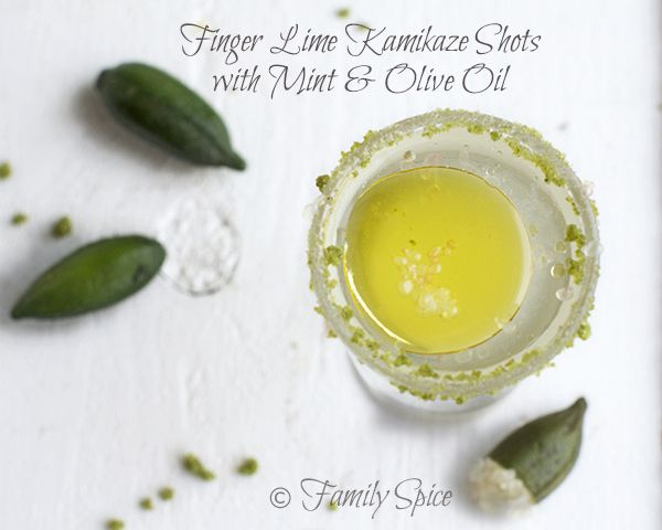 Finger Lime Kamikaze Shots with Mint and Olive Oil