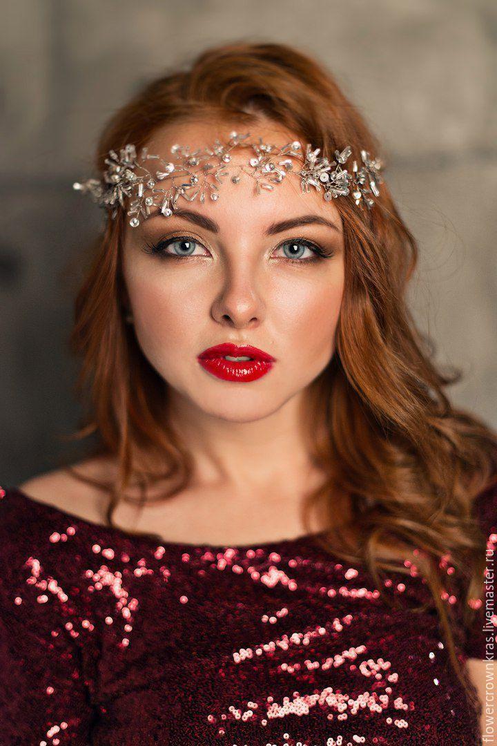 Купить Сверкающий свадебный венок - серебряный, венок, венок невесте, Новый Год, сверкающий венок