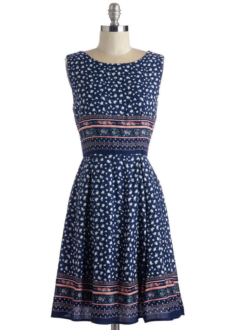 Get Your Day in Border Dress. First order of business - style yourself in this sweet A-line dress. #blue #modcloth