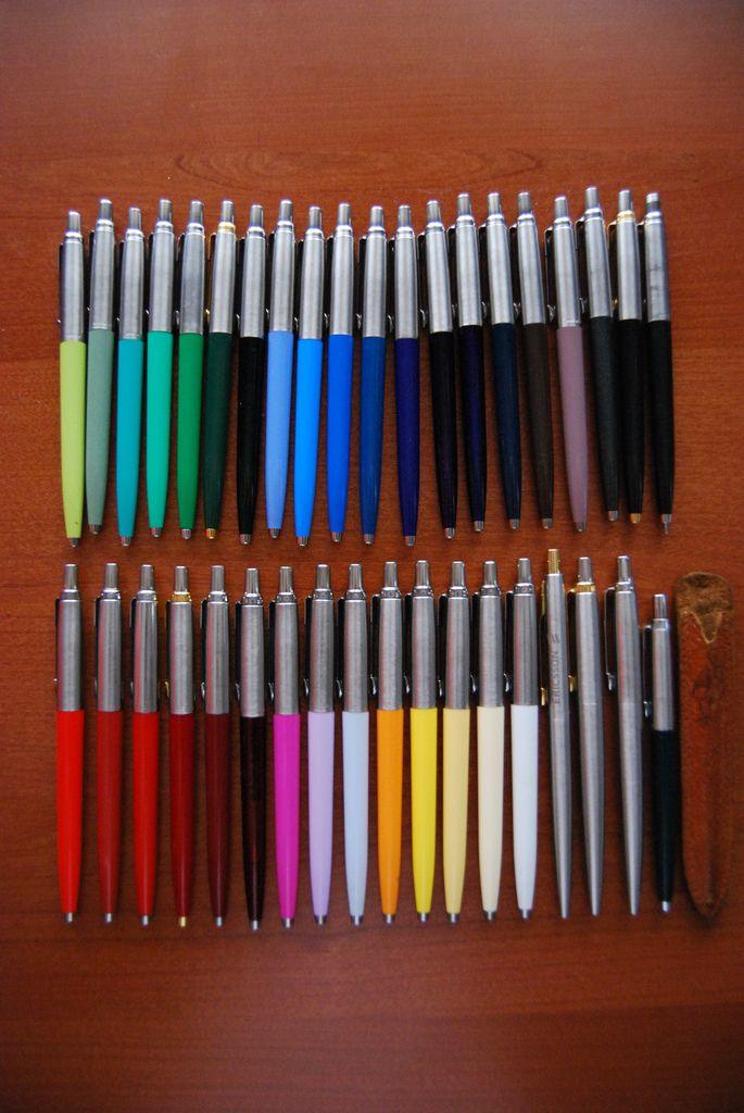 Parker Jotter Pens- LOVE the wonderful colors!!!  I have lime green, turquoise blue, pink and orange.  I'd love to have all of these, though- with Levenger blue ink refills.  The Parker ink refills blob too much.